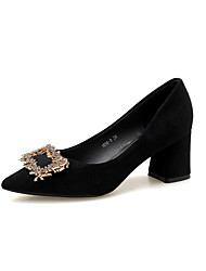 cheap -Women's Heels Chunky Heel Pointed Toe Casual Daily Nubuck Rhinestone Solid Colored Almond Black / 2-3