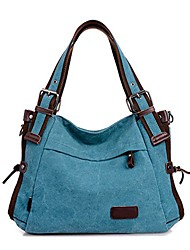 cheap -vintage women's canvas leather hobo tote shoulder bag top-handle handbag cross body purse blue