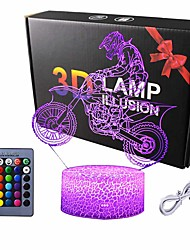 cheap -Motocross 3D Lamp Gifts for Boys Girls Room Dirt Bike Decor Toys Night Light Bedside Gifts for Kids Baby 7 Colors Changing Nightlight with Battery Backup and Smart Control
