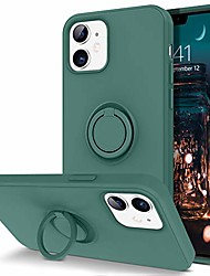 """cheap -compatible with iphone 12 case and iphone 12 pro case, slim silicone soft rubber with 360° ring holder kickstand car mount supported protective cute phone cases 5g 6.1"""" (2020), midnight green"""