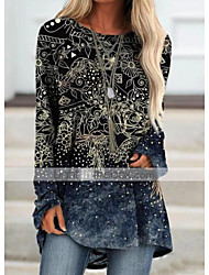 cheap -Women's Shift Dress Knee Length Dress Long Sleeve Print Print Fall Casual 2021 Blue Purple Yellow Dusty Blue Brown S M L XL XXL 3XL