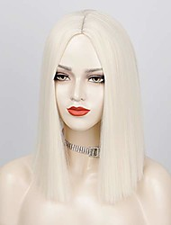 cheap -platinum blonde wig short straight bob wigs for women cosplay party use middle part heat resistant fiber wig (platinum blonde)