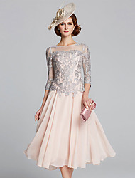 cheap -A-Line Mother of the Bride Dress Plus Size Sexy Jewel Neck Tea Length Chiffon Lace 3/4 Length Sleeve with Beading 2021