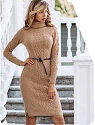 cheap -Women's Sweater Jumper Dress Knee Length Dress - Long Sleeve Solid Color Patchwork Fall Winter Turtleneck Plus Size Casual Slim 2020 Black Wine Khaki Gray S M L XL XXL 3XL 4XL 5XL