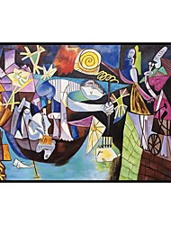 cheap -100% Hand Painted Abstract Scenery on Canvas Handmade Oil Painting Night Fishing at Antibes Master Piece Picasso Oil Painting