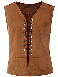 cheap -vintage medieval men vest laced up renaissance sleeveless waistcoat gothic steampunk tank top khaki