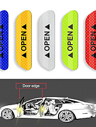 cheap -4Pcs Car Door Stickers Warning Mark Reflective Tape Auto Exterior Accessories OPEN Sign Safety Reflective Strip Light Reflector