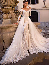 cheap -Ball Gown Mermaid / Trumpet Wedding Dresses Sweetheart Neckline Court Train Lace Tulle Lace Over Satin Long Sleeve Sexy Plus Size Modern Detachable with Appliques 2021