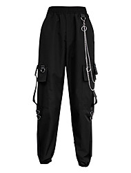 cheap -Women's Basic Streetwear Comfort Jogger Tactical Cargo Cotton Loose Daily Going out Pants Solid Colored Full Length Multi Pocket High Waist Black / Fleece Lining / Winter