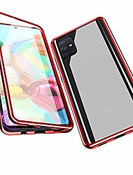 cheap -magnetic adsorption case for samsung galaxy a71, 360 degree front and back clear tempered glass flip cover, metal bumper frame for samsung galaxy a71 (red)