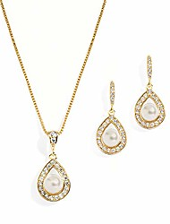 cheap -gold wedding necklace and earrings pearl jewelry set with cz frame for bridesmaids & brides