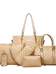 cheap -Women's Bags PU Leather Leather Bag Set 6 Pieces Purse Set Zipper Daily Outdoor Bag Sets 2021 Handbags Black Blue Champagne Brown