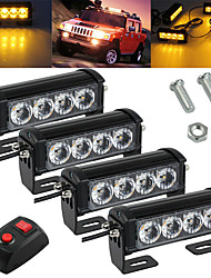 cheap -2Pcs 4LED Yellow Light Car Strobe Flash Grille Light Warning Emergency Lamp Waterproof  Super Bright