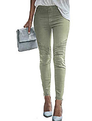 cheap -womens casual leggings moto jeggings ankle zipper skinny pleated stretch pencil pants with pockets green small