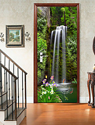 cheap -2pcs Waterfall Self-adhesive Creative Door Stickers For Living Room Diy Decorative Home Waterproof Wall Stickers