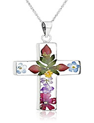 cheap -sterling silver pressed flower multi-colored cross pendant necklace, 18""