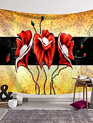 cheap -Wall Tapestry Art Deco Blanket Curtain Picnic Table Cloth Hanging Home Bedroom Living Room Dormitory Decoration Polyester Fiber Novelty Modern Color Oil Painting Red Flowers