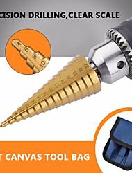 cheap -3pc Hss step drill bit set cone hole cutter Taper metric 4 - 12 / 20 / 32mm 1 / 4 titanium coated metal hex core drill bits