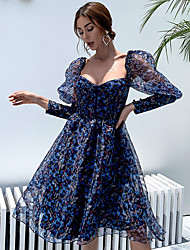 cheap -Ball Gown Floral Sexy Party Wear Cocktail Party Dress Scoop Neck Long Sleeve Short / Mini Organza with Pattern / Print 2020