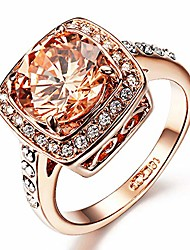 cheap -yellow shinning cubic zirconia topaz rings for women 18k rose gold plated