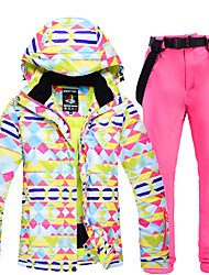 cheap -Women's Ski Jacket with Pants Ski / Snowboard Winter Sports Thermal Warm Waterproof Windproof Polyester Clothing Suit Ski Wear / Long Sleeve / Camo / Camouflage