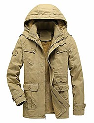 cheap -men's winter mid-length patchwork thickened quilted cotton-padded jacket coat windbreaker (khaki s)
