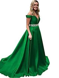 cheap -women's off shoulder ball gown satin beaded a line formal gowns 16 green
