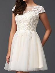 cheap -A-Line Wedding Dresses Jewel Neck Short / Mini Lace Tulle Short Sleeve Vintage Little White Dress 1950s with Appliques 2021