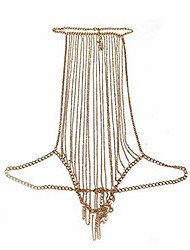 cheap -bikini cross body chain adjustable harness with fine chain multirow necklace tassel crossover necklace jewelry for women