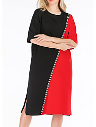 cheap -Women's Shift Dress Knee Length Dress - Half Sleeve Color Block Fall Casual 2020 White Red Gray Light Blue One-Size