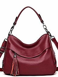 cheap -woman's lady's hobo handbag, leather crossbody travel bags shoulder purses handbags for women (wine)