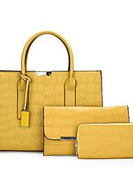 cheap -Women's Bags Top Handle Bag Date Office & Career Bag Sets 2021 Handbags Dark Brown Wine Black Yellow