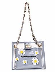 cheap -women 2 in 1 clear purse tote handbag with small daisies flower print chain shoulder bag