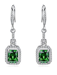 cheap -womens 925 sterling silver created emerald dangle earrings