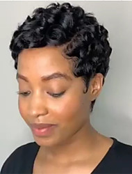 cheap -6 Inch Black Ladies Exquisite Short Black Curly Hair Everyday Wig Celebrity Wig