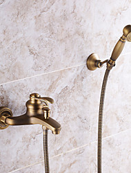 cheap -Antique Brass Shower Faucet Set,Vintage Style Mount Outside Ceramic Valve Bath Shower Mixer Taps with Rain Shower,Handshower,Bodysprays and Drain
