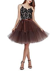 cheap -women's tulle skirt princess tutu midi knee length skirt underskirt dance skirt white