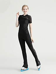 cheap -Figure Skating Jacket with Pants All Ice Skating Top Bottoms Black Spandex High Elasticity Training Skating Wear Solid Colored Crystal / Rhinestone Short Sleeve Ice Skating Figure Skating / Kids