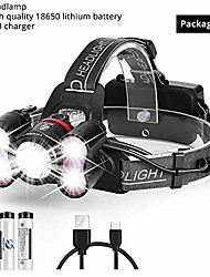 cheap -super bright led headlamp 5 led's 10000 lumens headlight 4 switch modes fishing lamp waterproof use 2x18650 batteries (package c)