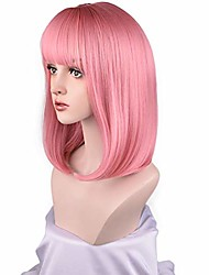 """cheap -16"""" long bob wig with bangs straight synthetic hair wigs for women color: princess pink"""