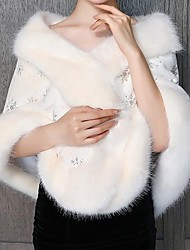 cheap -Sleeveless Capes Orlon Wedding Shawl & Wrap With Fur