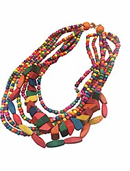 cheap -multicolored beaded wood bead layered necklace (multicolor)