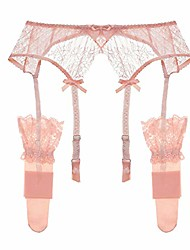 cheap -women's lace garter belt metal clips suspender belt and stockings (n033+n007,pink, s)