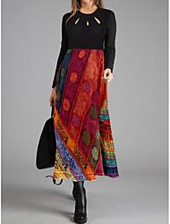 cheap -Women's Shift Dress Maxi long Dress - Long Sleeve Print Color Block Patchwork Print Fall Casual 2021 Red M L XL XXL 3XL