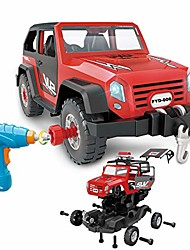 cheap -take apart toy car 35 pieces set, diy assembly car toy construction kit realistic lights & sounds with electric toy drill for boys and girls kids ages 3+ gift (red)