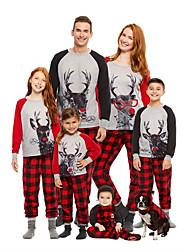 cheap -Family Look Animal Letter Print Long Sleeve Regular Regular Clothing Set Red