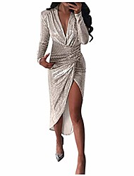 cheap -Women's Prom Dresss parkling evening dress long sleeve bodycon elegant gown for party annual dinner special events (beige, xl)
