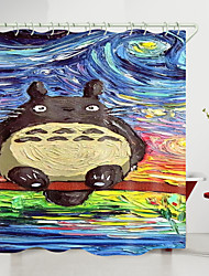 cheap -My Neighbor Totoro Oil Painting Digital Printing Shower Curtain Shower Curtains  Hooks Modern Polyester New Design
