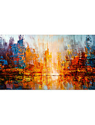cheap -Oil Painting Hand Painted Horizontal Panoramic Abstract Landscape Comtemporary Modern Stretched Canvas