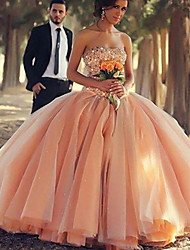 cheap -Ball Gown Elegant Luxurious Quinceanera Prom Dress Strapless Sleeveless Floor Length Satin with Pleats Tier 2020